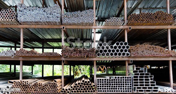 istock Different sizes of steel tubes on the shelf 908686768
