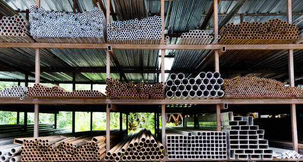 Different sizes of steel tubes on the shelf Different sizes of steel tubes on the shelf rod stock pictures, royalty-free photos & images