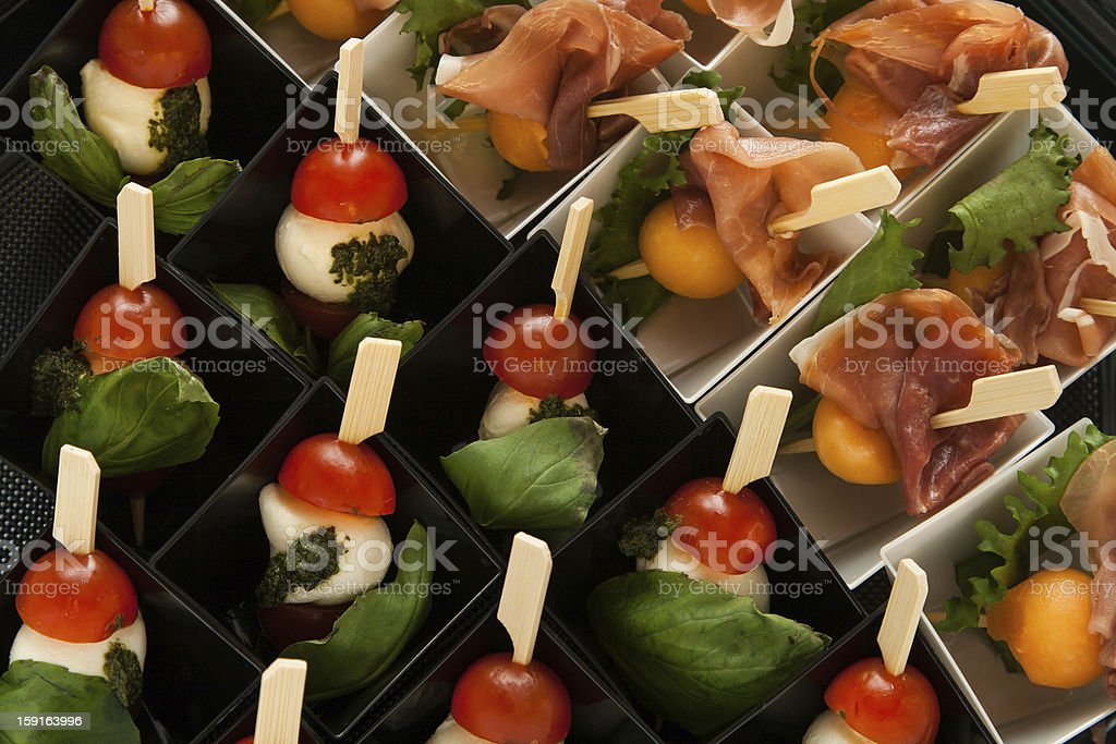 different snack on skewer in mini box royalty-free stock photo