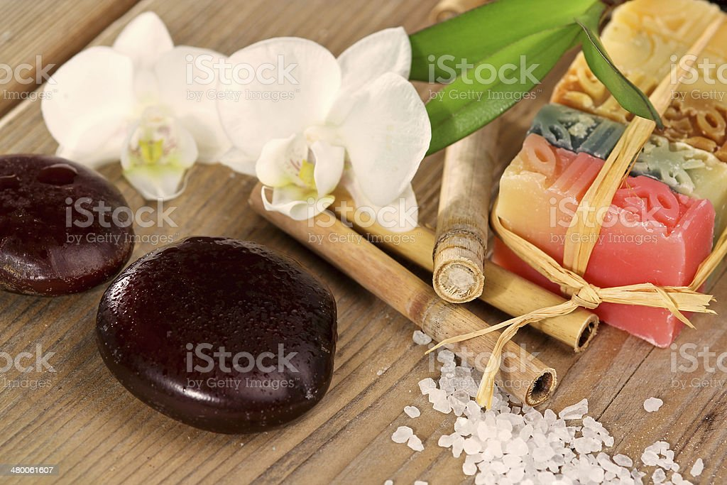 Different soaps, bamboo and orchid stock photo