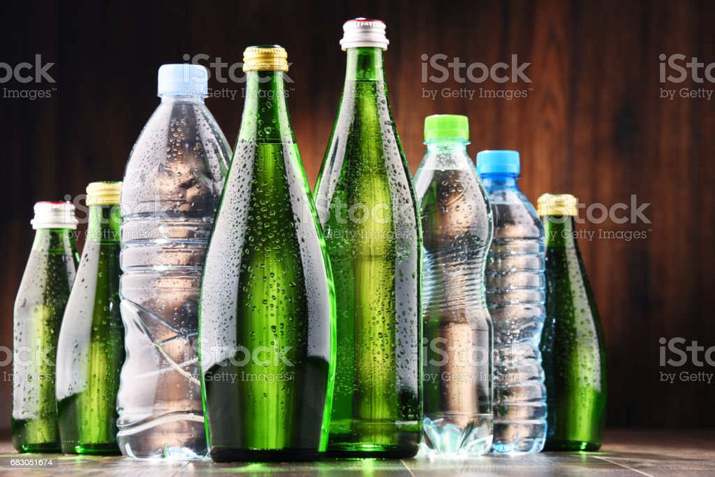 Different sorts of bottles containing mineral water foto de stock royalty-free