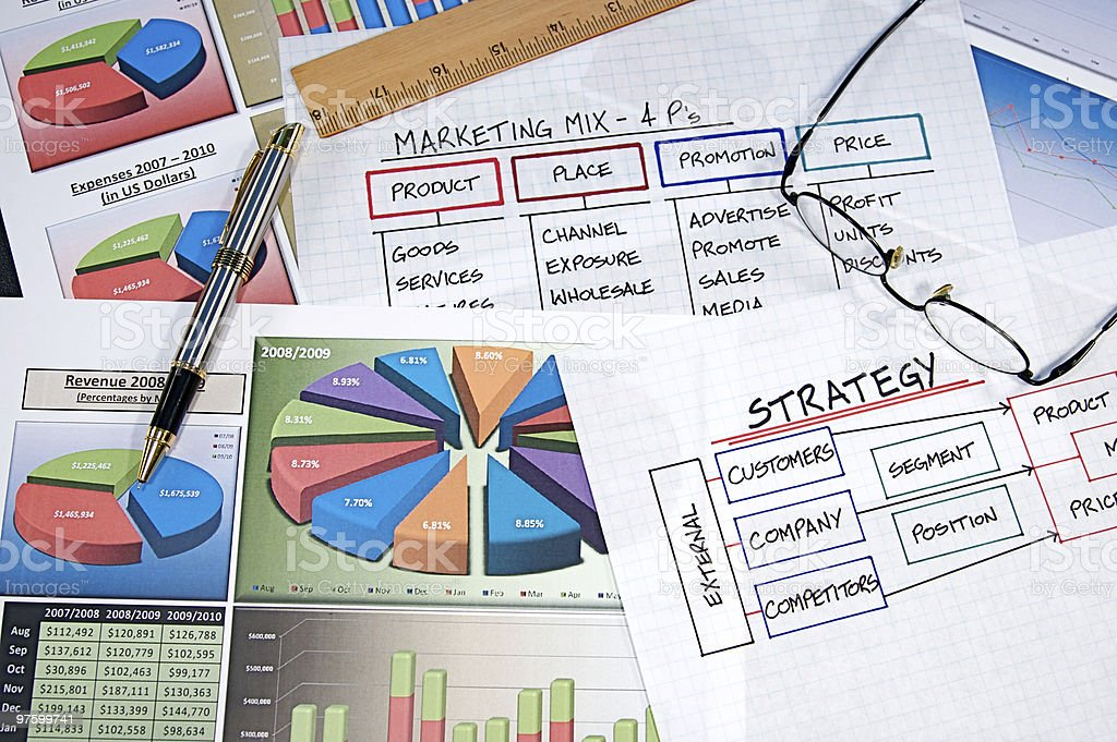 Different sorts of business charts and graphs royalty-free stock photo