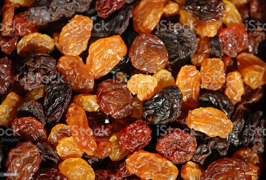 Different sorts of sundried Raisins stock photo