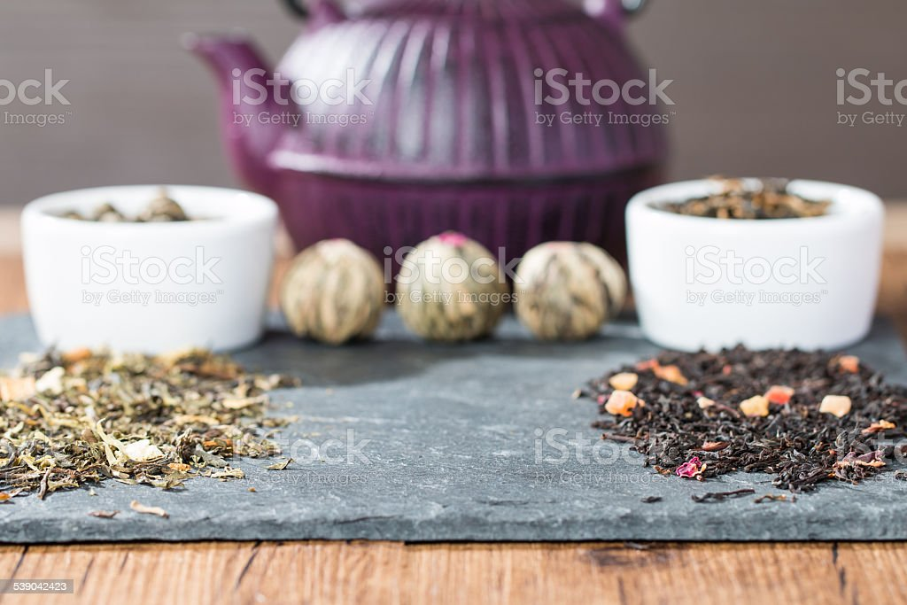 different sorts of tea leaves stock photo