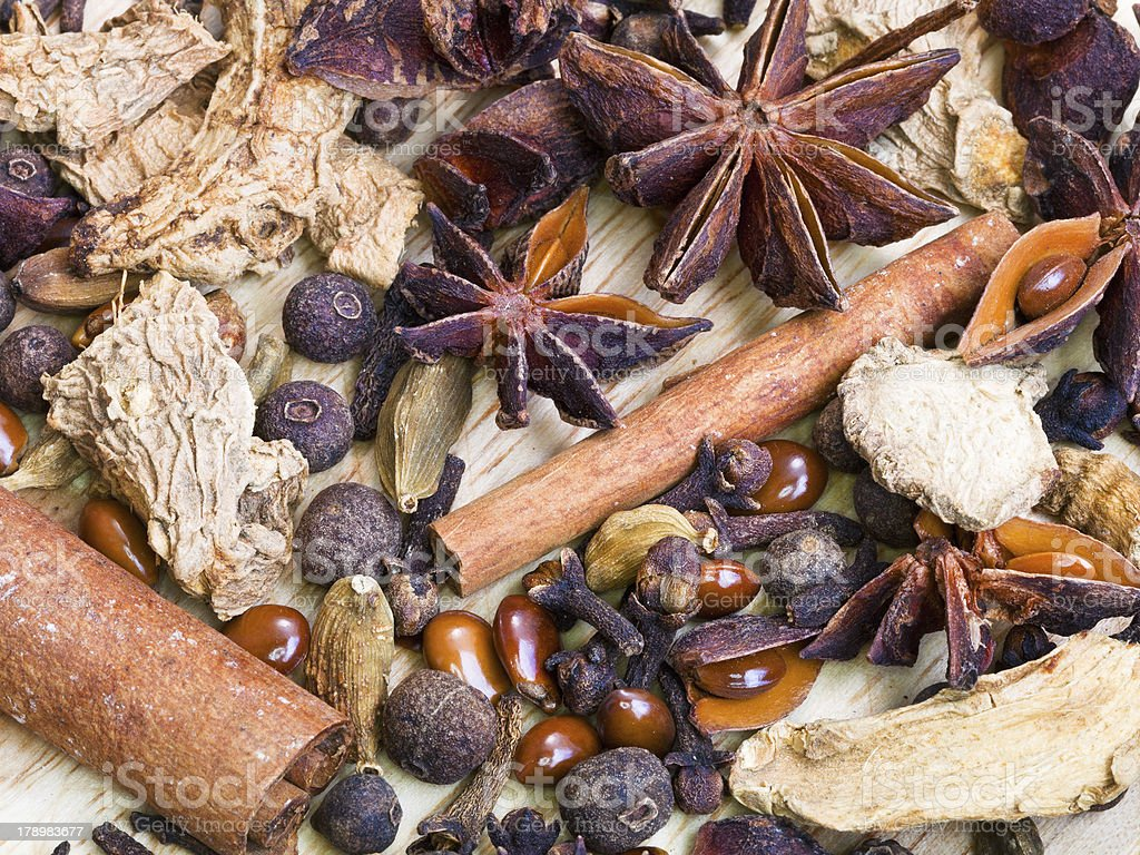 different spices for mulled wine royalty-free stock photo