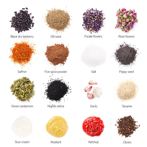 different spices - sesame stock photos and pictures