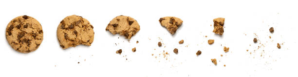 Different stages of eaten cookie Different stages of eaten cookie isolated on white background cookie stock pictures, royalty-free photos & images