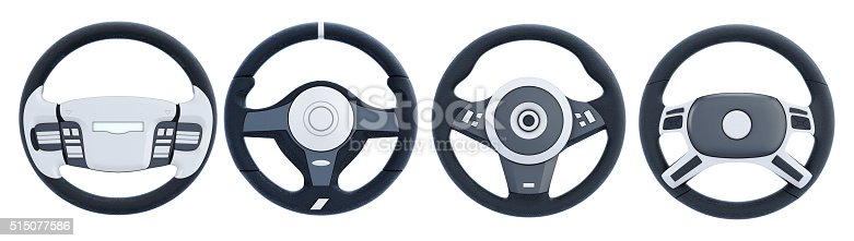 Different steering wheels isolated on white background. 3d rendering.