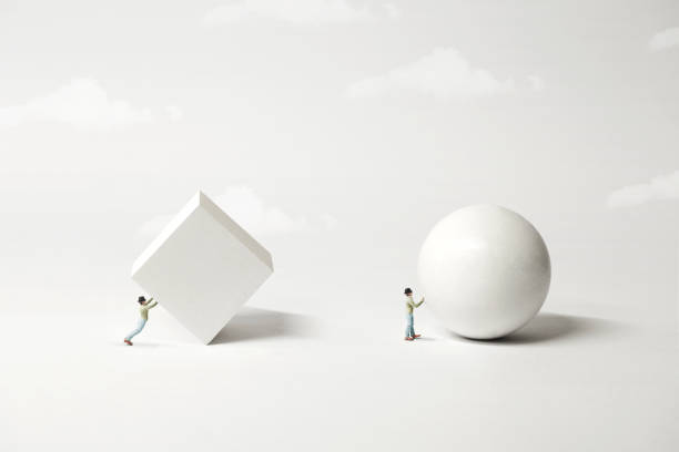 different strategy comparison; the easyest the better, surreal minimal concept stock photo