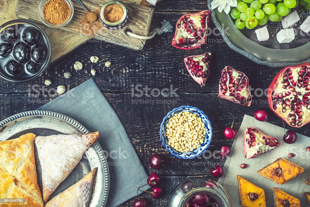 Different sweets . Concept of oriental desserts stock photo