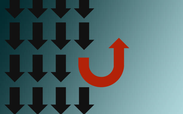 different thinking concept with u turn arrow - defiance stock pictures, royalty-free photos & images