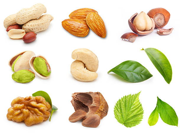 Different tipe of nuts stock photo
