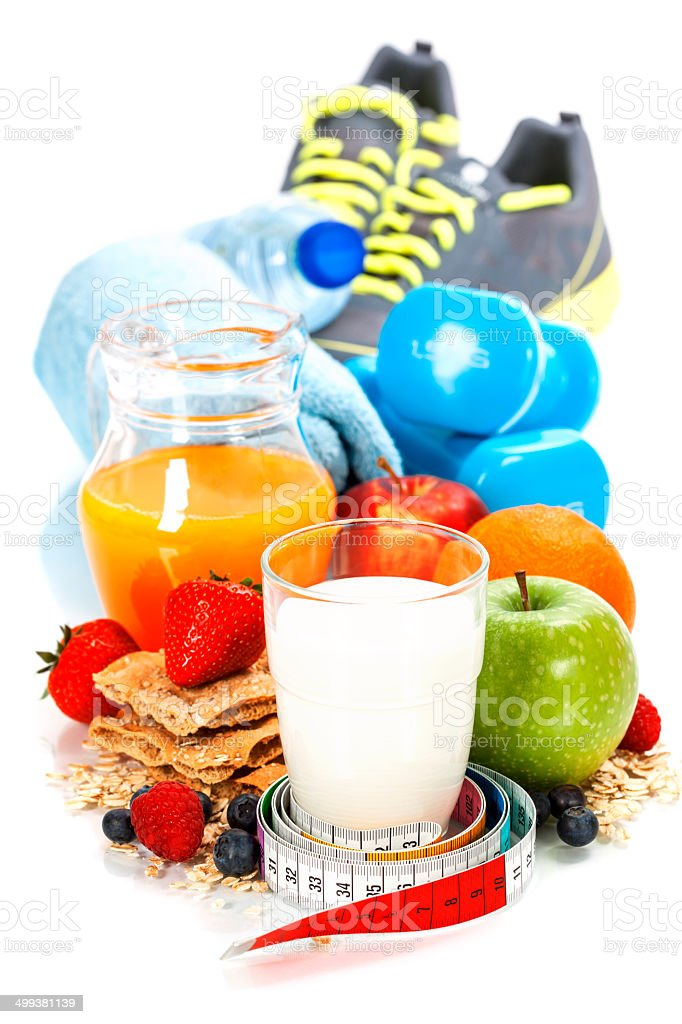 Different tools for sport and healthy food stock photo