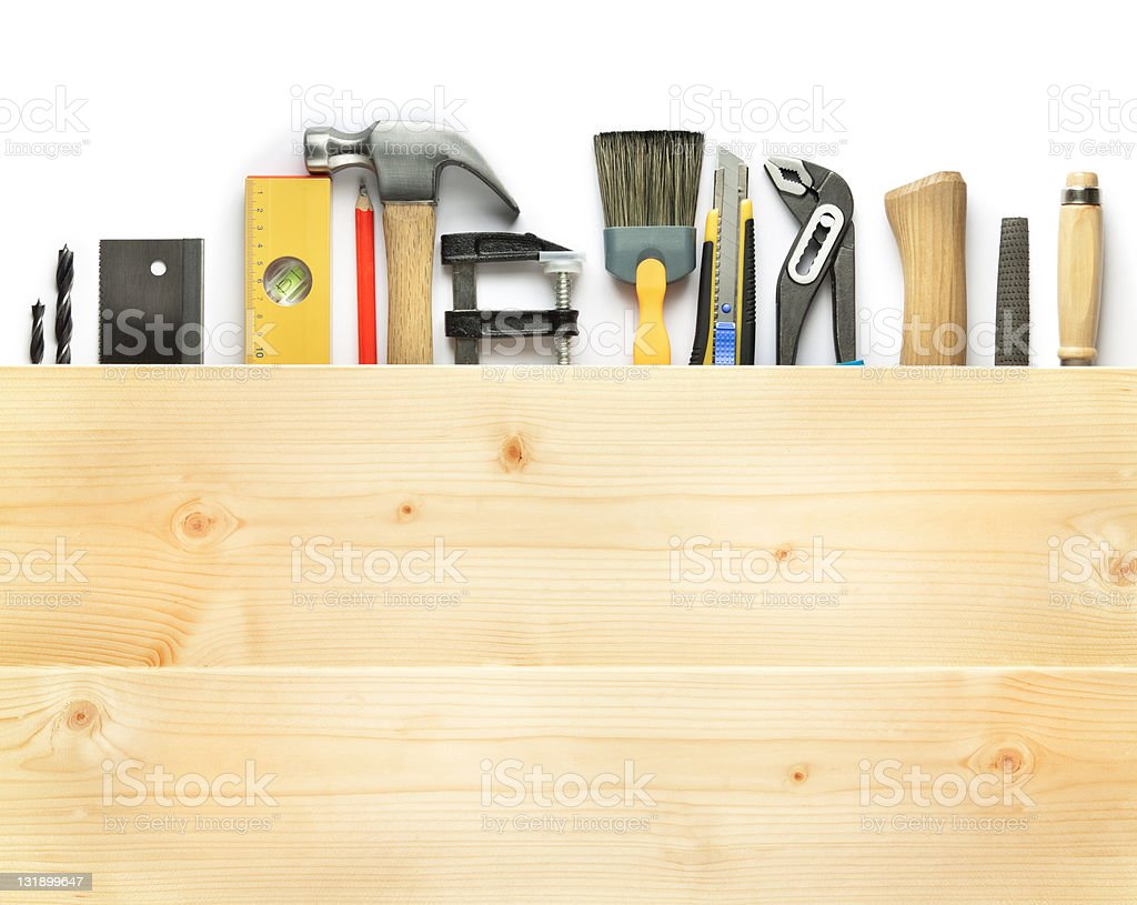 Different tools in a wooden box royalty-free stock photo