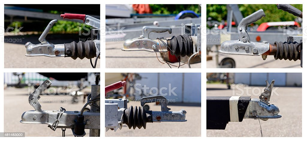 different trailer hooks stock photo