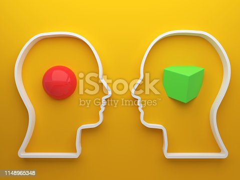 Different two people head 3d drawing