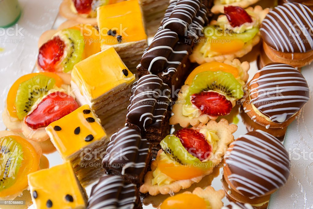 Different type of cakes stock photo
