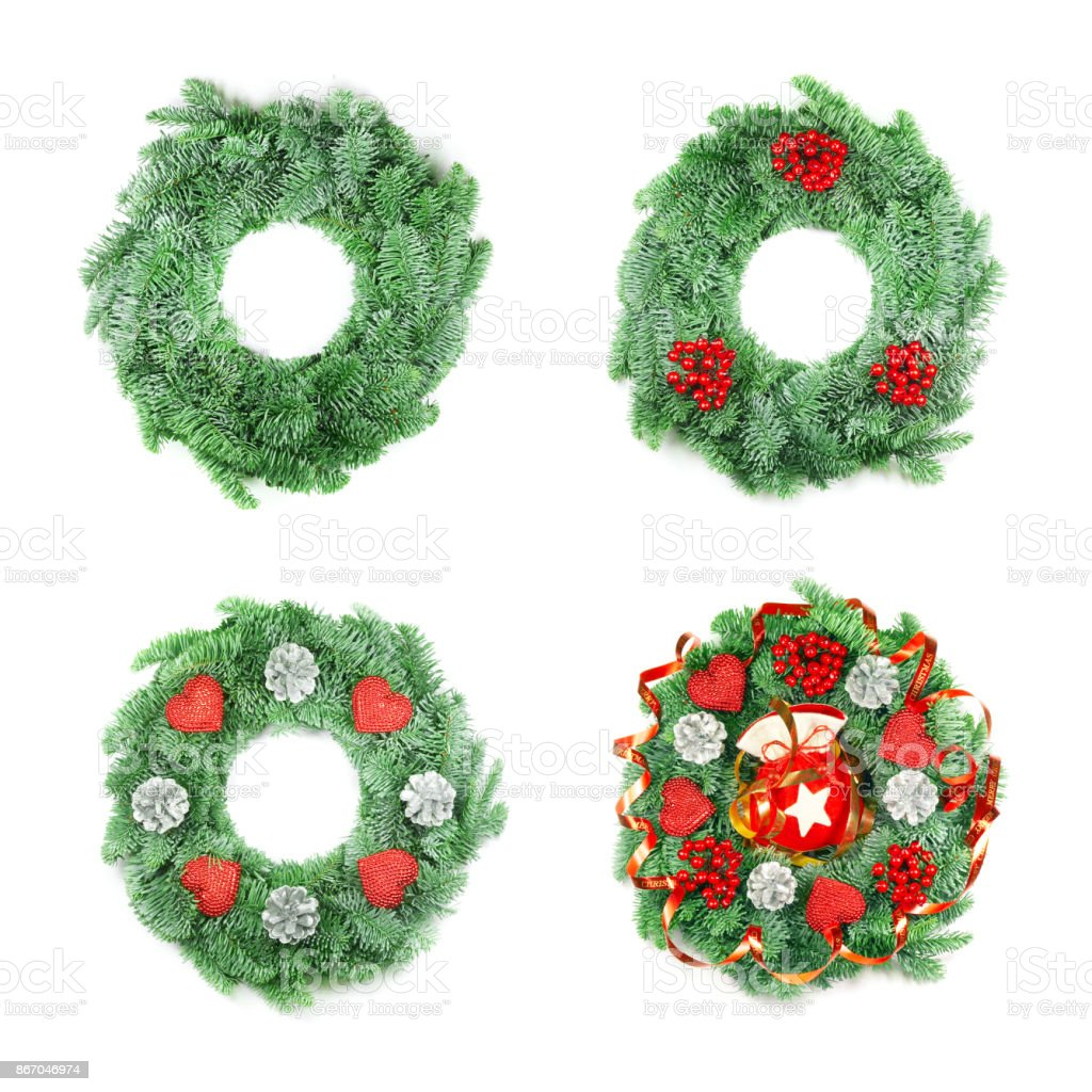 Different Type Of Christmas Wreath With Ornaments On White Stock ...