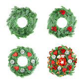 istock Different type of Christmas Wreath with Ornaments on White 867046974