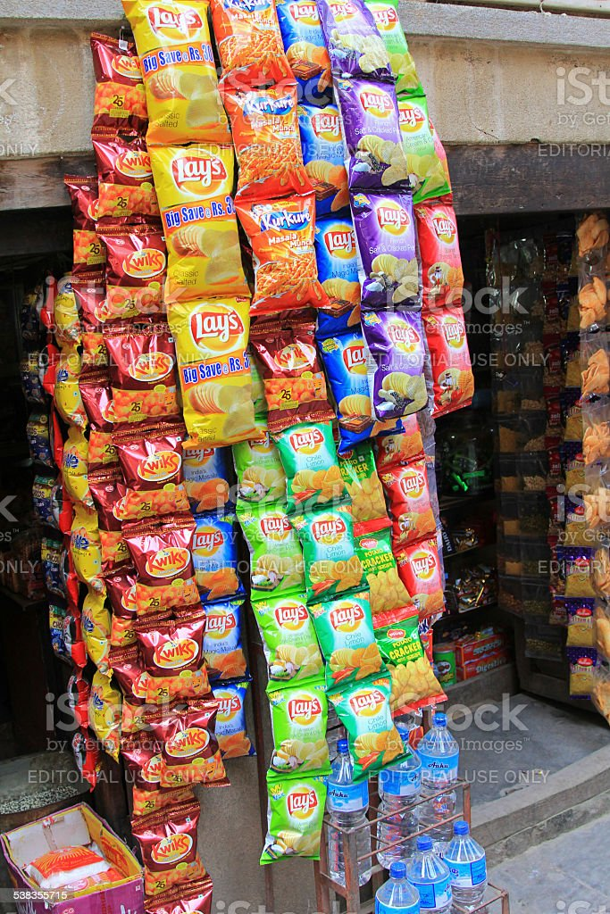 Different type of Lay's Potato Chips in Nepal stock photo