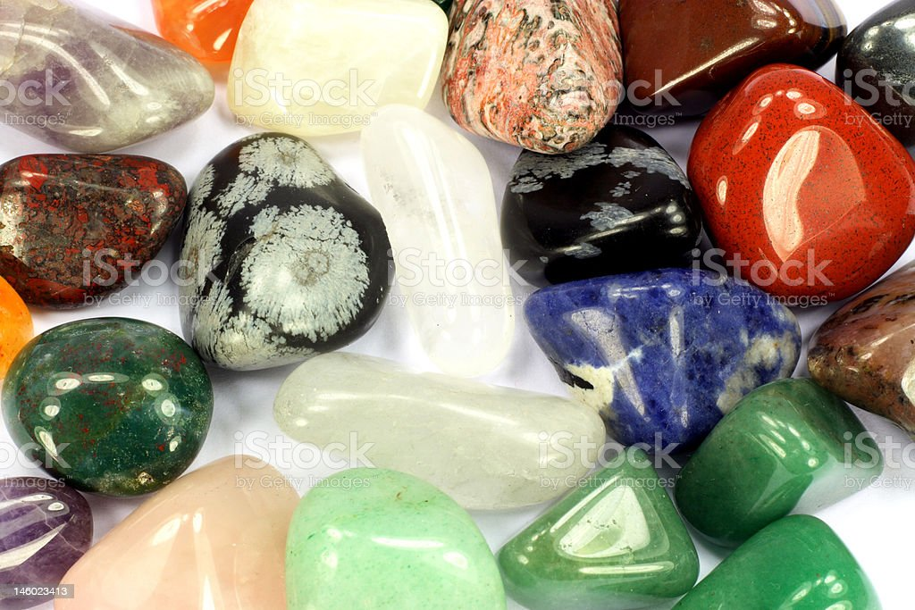 Different types birth stones as background. stock photo