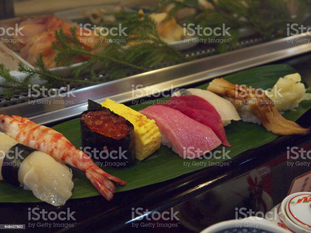 Different Types Gourmet Sushi Set With Tuna And Red Caviar Stock