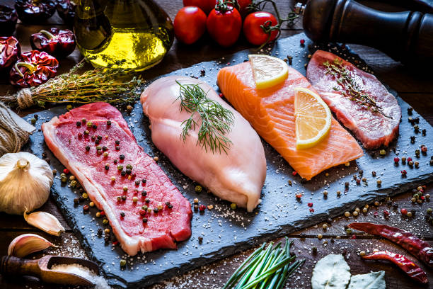 verschiedene arten von tierischem protein - fleisch stock-fotos und bilder