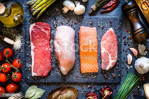 Top view of four different types of animal protein like a raw beef steak, a raw chicken breast, a raw salmon fillet and a raw pork steak on a stone tray. Stone tray is at the center of the image and is surrounded by condiments, spices and vegetables. Low key DSLR photo taken with Canon EOS 6D Mark II and Canon EF 24-105 mm f/4L