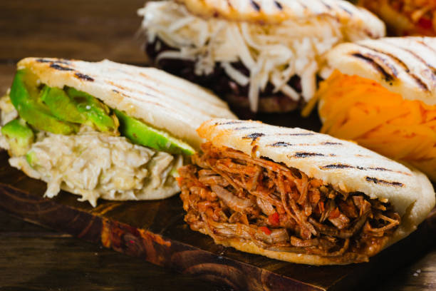 different types of arepas, the typical venezuelan food - venezuela stock photos and pictures