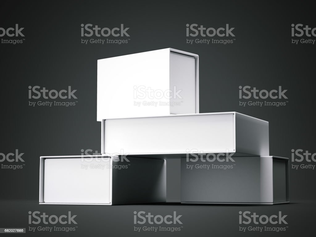 Different Types Of Boxes 3d Rendering Stock Photo & More
