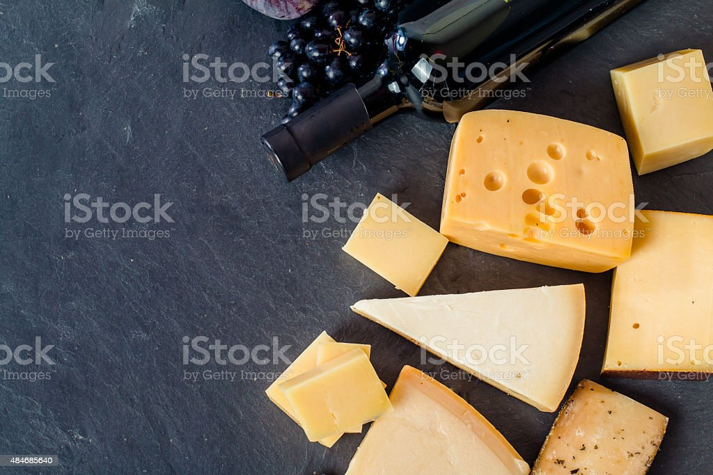 Different types of cheeses stock photo