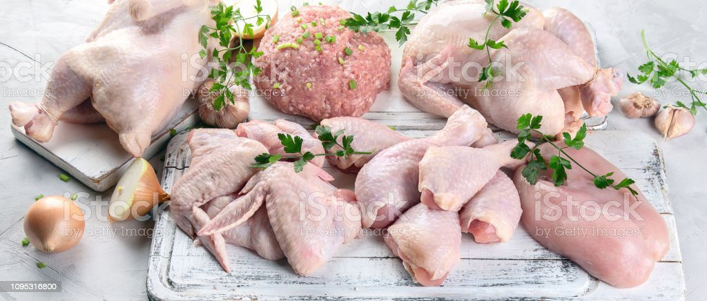 Different types of chicken meat stock photo