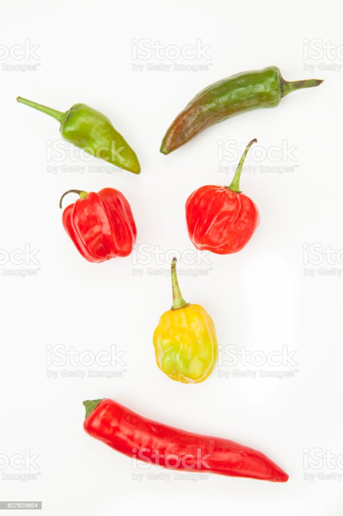 Different types of chiles stock photo