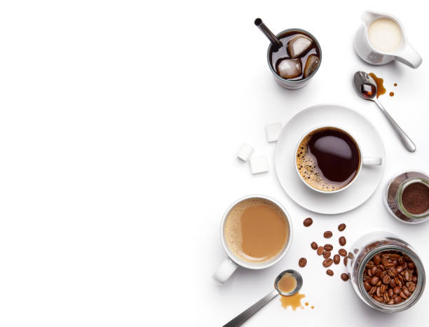 Different types of coffee and ingredients over white background with copy space Different types of coffee and ingredients over white background with copy space black coffee stock pictures, royalty-free photos & images