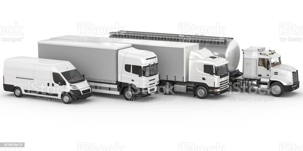 Ticari kara araçları beyaz arka plan üzerinde farklı türleri royalty-free stock photo