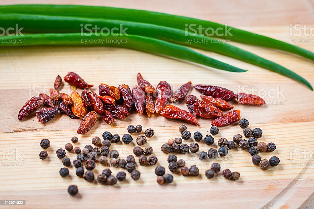 Different types of condiments stock photo