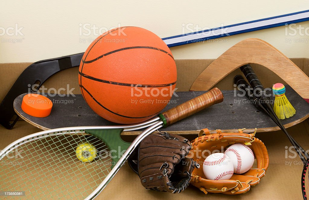 Different types of different sports equipment and balls stock photo