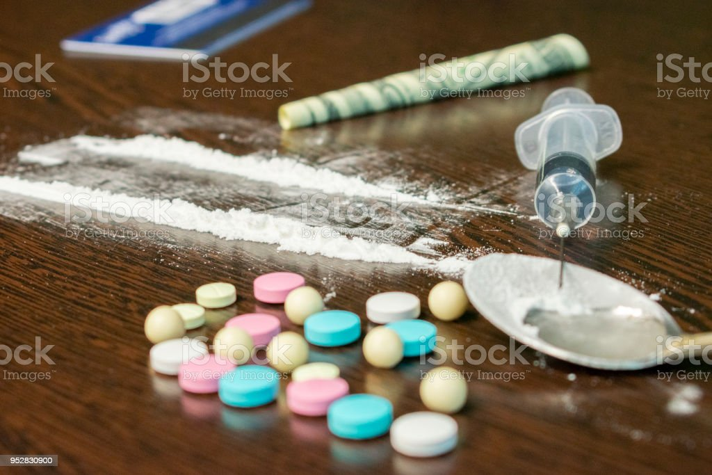 Different Types Of Drugs On The Table Stock Photo - Download Image Now