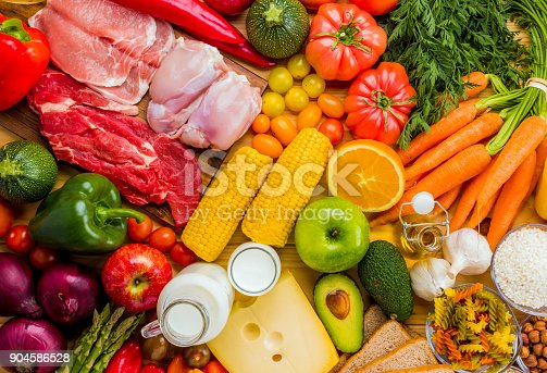 istock Different types of food from the food pyramid seen from above. 904586528
