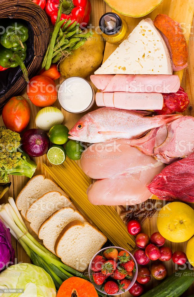 Different types of foods stock photo