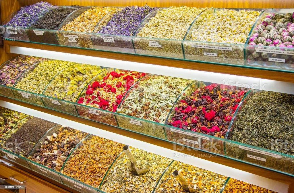 Different types of fruit and herbal tea, Grand Bazaar stock photo