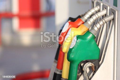Colorful petrol pumps.