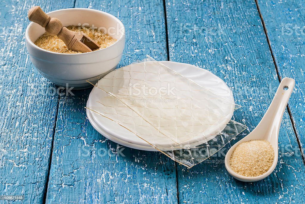 Different types of gelatin stock photo