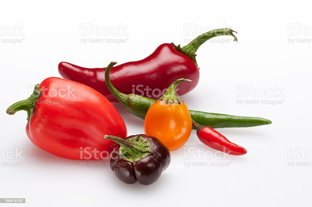 Different types of hot peppers stock photo