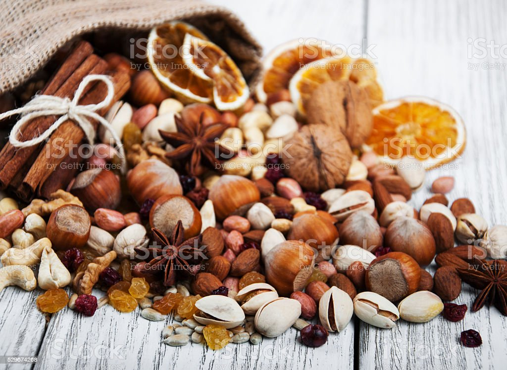 different types of nuts stock photo