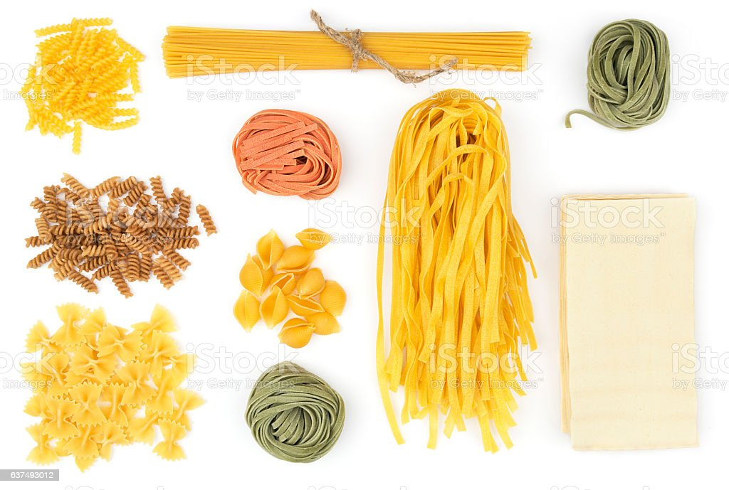 Different types of pasta stock photo