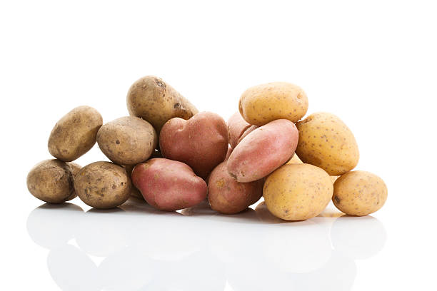 Different types of potatoes on white background stock photo