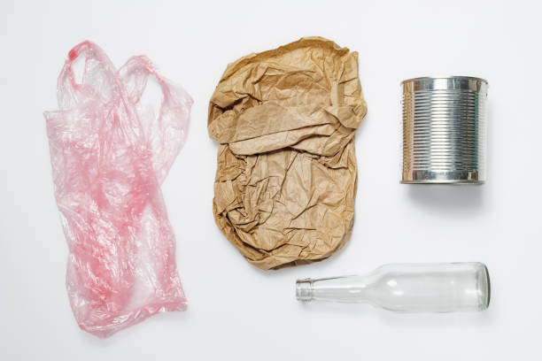 Different types of recyclable garbage. stock photo