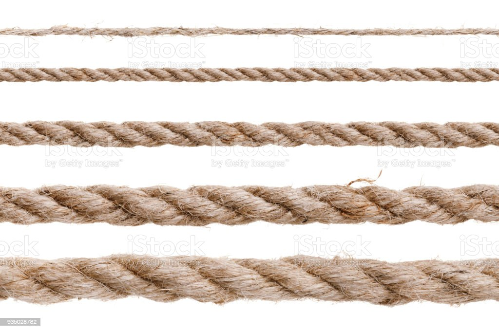 Different types of rope isolated on white background stock photo