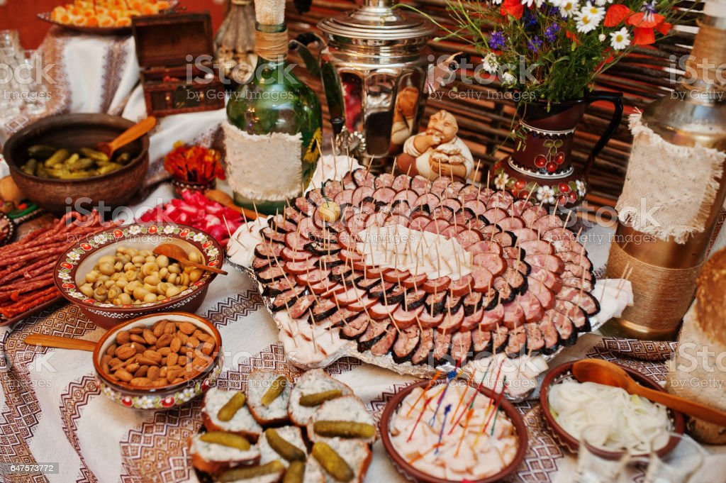 Different Types Of Sausage At Wedding Reception Table Stock Photo